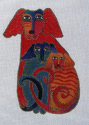 NEEDLEPOINT Handpainted Laurel Burch DOG Embracing Dogs 5x6