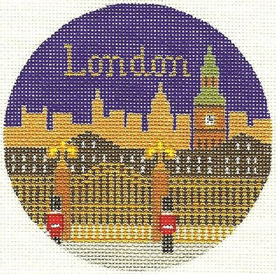 "Needlepoint Handpainted London Christmas Ornament 4.25"" Silver Needle"