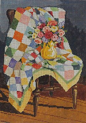 NEEDLEPOINT HANDPAINTED Canvas Sandra Gilmore QUILT 7x10