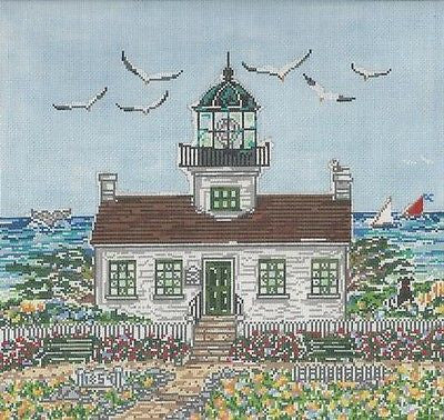 NEEDLEPOINT HandPainted Susan Wallace Barnes POINT LOMA Lighthouse 12x12