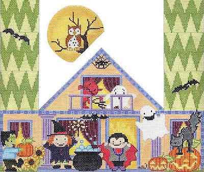 Needlepoint Handpainted Halloween Door Stop STARKE Art HALLOWEEN Party 13x8