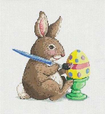 NEEDLEPOINT HANDPAINTED Canvas Sandra Gilmore EASTER BUNNY CLAUDE 8x9 NEW