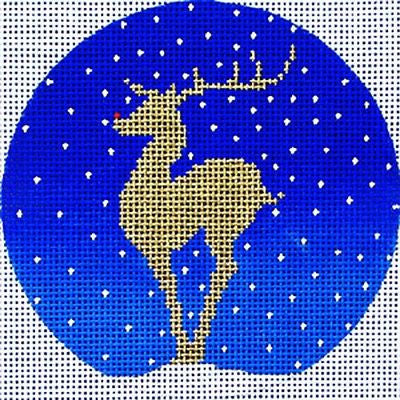 "NEEDLEPOINT Handpainted Amanda Lawford CHRISTMAS ORNAMENT New Reindeer 4"" 18M"