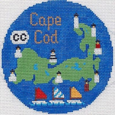 Needlepoint Handpainted Christmas Cape Cod Silver Needle