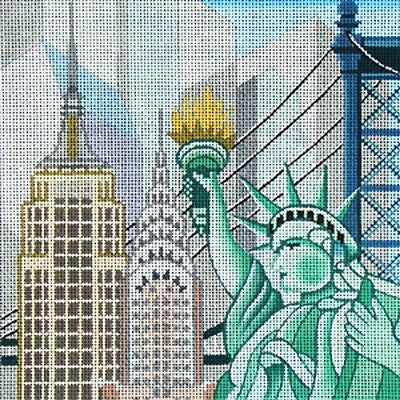 NEEDLEPOINT Handpainted Canvas Amanda Lawford NEW YORK Statue of Liberty 7x7 18M