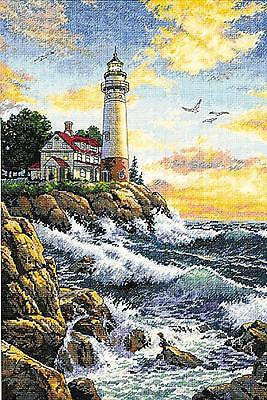 COUNTED CROSS STITCH Dimensions Kit ROCKY POINT Lighthouse Ocean 11x17