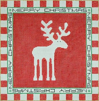 Needlepoint Handpainted Canvas SANDRA GILMORE Christmoose Christmas 12x12