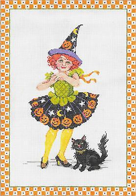 NEEDLEPOINT HANDPAINTED Canvas Sandra Gilmore HALLOWEEN Samantha Witch