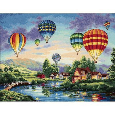 COUNTED CROSS STITCH Dimensions Kit BALLOON GLOW 16 x12  Blue Hot Air Balloon