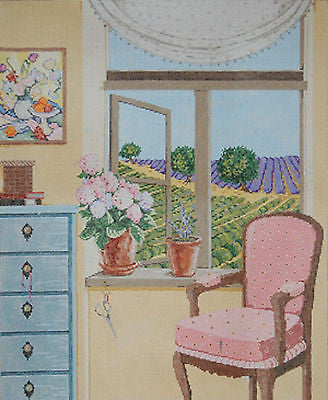 NEEDLEPOINT HANDPAINTED Canvas Sandra Gilmore Vue de la PROVENCE France 18-949