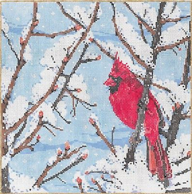 Needlepoint Handpainted Canvas SANDRA GILMORE Winters Jewel CARDINAL