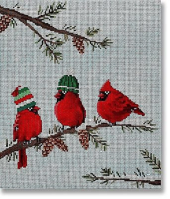 NEEDLEPOINT Handpainted CHRISTMAS Scott Church Red Birds II Cardinal