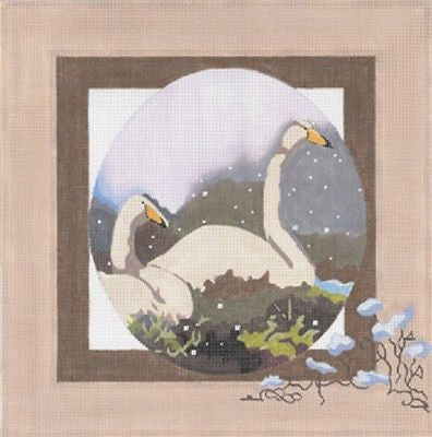 Needlepoint Handpainted Canvas JOY JUAREZ Whooping CRANES Blue Flowers 18M