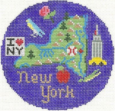 Needlepoint Handpainted LEE NEW YORK Christmas Ornament 4.25 Silver Needle