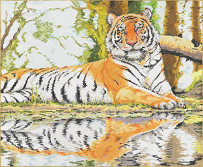 NEEDLEPOINT HANDPAINTED Canvas Sandra Gilmore WILD REFLECTION Tiger 18x15 NEW
