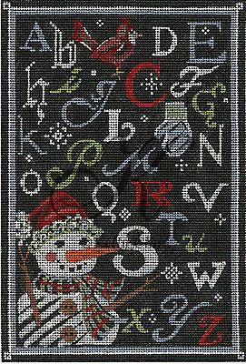 Needlepoint Handpainted Christmas KELLY CLARK ABC Winter Chalk Sampler