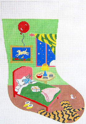 NEEDLEPOINT HANDPAINTED Canvas GOODNIGHT MOON Christmas Stocking BUNNY in BED