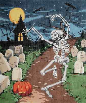 Needlepoint HANDPAINTED Canvas SANDRA GILMORE Halloween MOONDANCE Graveyard 18M