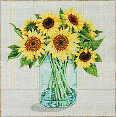 Needlepoint HANDPAINTED Canvas SANDRA GILMORE Sunflowers BRIGHT EYES 18M