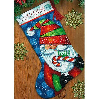 "Needlepoint Christmas STOCKING KIT Sweet Santa Dimensions 16"" Long"