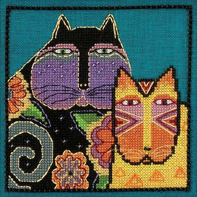 Counted Cross Stitch LAUREL BURCH Feline Friends KIT LINEN 5 x 5