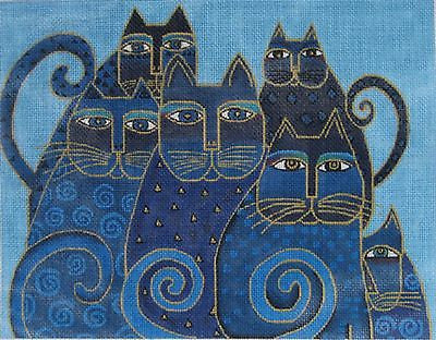 NEEDLEPOINT Handpainted Canvas Laurel Burch INDIGO CATS 14x11