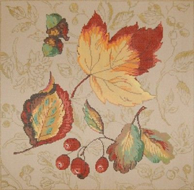 NEEDLEPOINT HANDPAINTED Canvas Sandra Gilmore FALL Splendor w/STITCH GUIDE