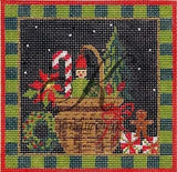 Needlepoint Handpainted KELLY CLARK Christmas Basket w/STITCH Guide