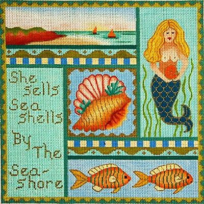 NEEDLEPOINT HandPainted Canvas Amanda Lawford MERMAID She Sells Sea Shells 18M
