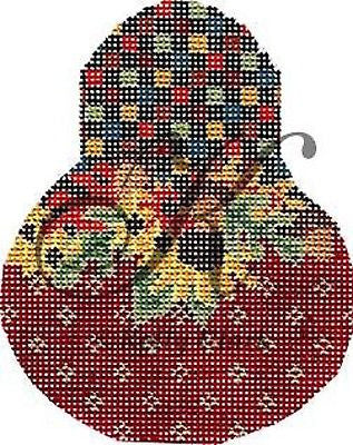 Needlepoint Handpainted KELLY Clark Autumn Folk Art Pear w/Stitch Guide