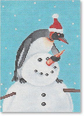 NEEDLEPOINT Handpainted CHRISTMAS Scott Church Building a Snowman
