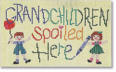NEEDLEPOINT Handpainted KOOLER Designs Grandchildren Spoiled Here