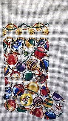 NEEDLEPOINT Handpainted CHRISTMAS Danji Christmas Balls Stocking 11x21