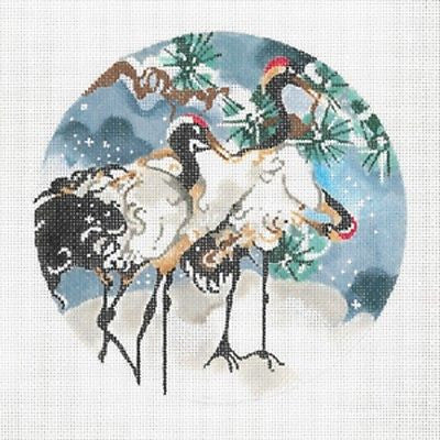 "Needlepoint Handpainted Canvas JOY JUAREZ Three Snow Cranes Ornament 6"" 18M"