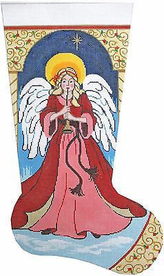 NEEDLEPOINT Handpainted  LEE Christmas Stocking Angel with Horn