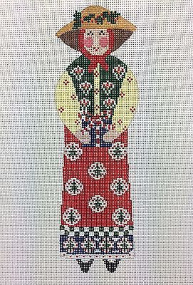 NEEDLEPOINT HandPainted CHRISTMAS Linda Ragno Garden Lady with Present 18M