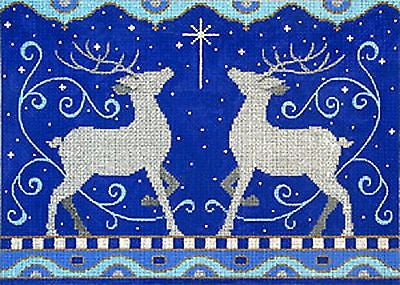 NEEDLEPOINT Handpainted Amanda Lawford Christmas 2 REINDEER Blue Silver