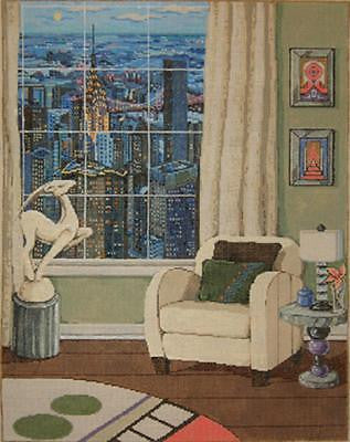 Handpainted Needlepoint Sandra Gilmore Manhattan View 16x20