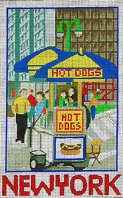 "NEEDLEPOINT Handpainted Amanda Lawford NEW YORK Post Hot Dog 5""x8"" 18M"