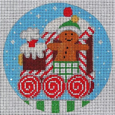 NEEDLEPOINT Handpainted Amanda Lawford CHRISTMAS Ginger TRAIN Engine DC Designs