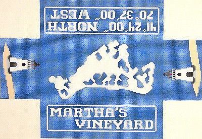 NEEDLEPOINT HANDPAINTED Canvas LEE Marthas VINEYARD Brick Cover Door Stop 13M
