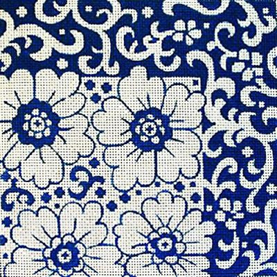 NEEDLEPOINT Handpainted Amanda Lawford ASIAN Blue Flowers 8x8