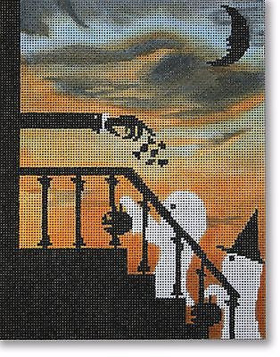 NEEDLEPOINT Handpainted Canvas HALLOWEEN Scott Church I Got a Rock