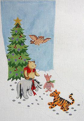 Needlepoint Handpainted Canvas Lee WINNIE POOH and Friends CHRISTMAS Stocking