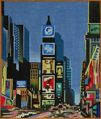 NEEDLEPOINT Handpainted Canvas Amanda Lawford NEW YORK Times Square 7x8 18M