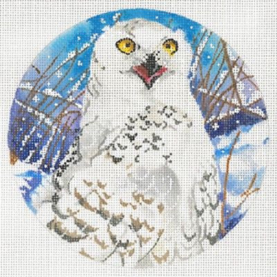 Needlepoint Handpainted Canvas JOY JUAREZ Snowy OWL Ornament 6""