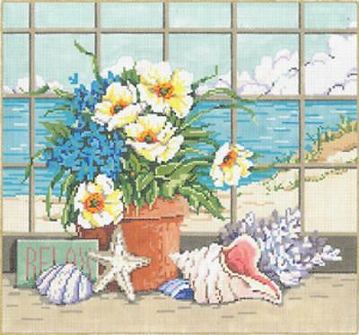 NEEDLEPOINT HANDPAINTED Canvas Sandra Gilmore SHELLSCAPE w/ STITCH GUIDE 15x14