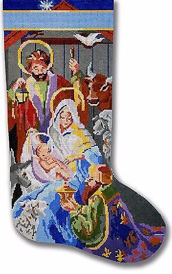 NEEDLEPOINT Handpainted Christmas STOCKING Kooler Design NATIVITY Away in Manger