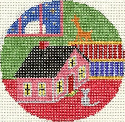 NEEDLEPOINT HANDPAINTED GOODNIGHT MOON Toy HOUSE and MOUSE Lee Silver Needle