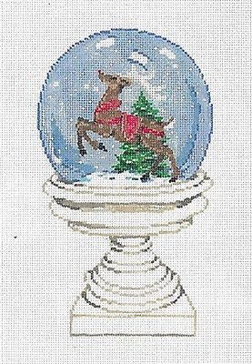 Needlepoint Handpainted Canvas SANDRA GILMORE Christmas SNOWGLOBE w/Stitch Guide